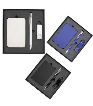 Gift Set with Charger, 4Gb Lacquered Rotate Flash Drive & Hawk Pen