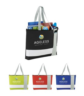 Tri Block Zippered Business Tote