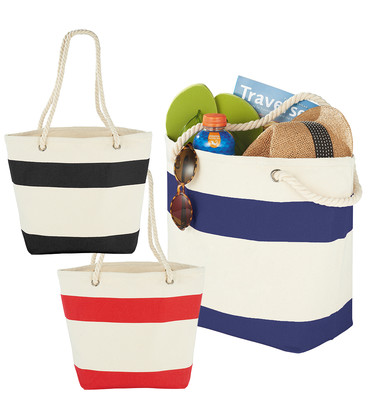 Capri Stripes Cotton Shopper Tote